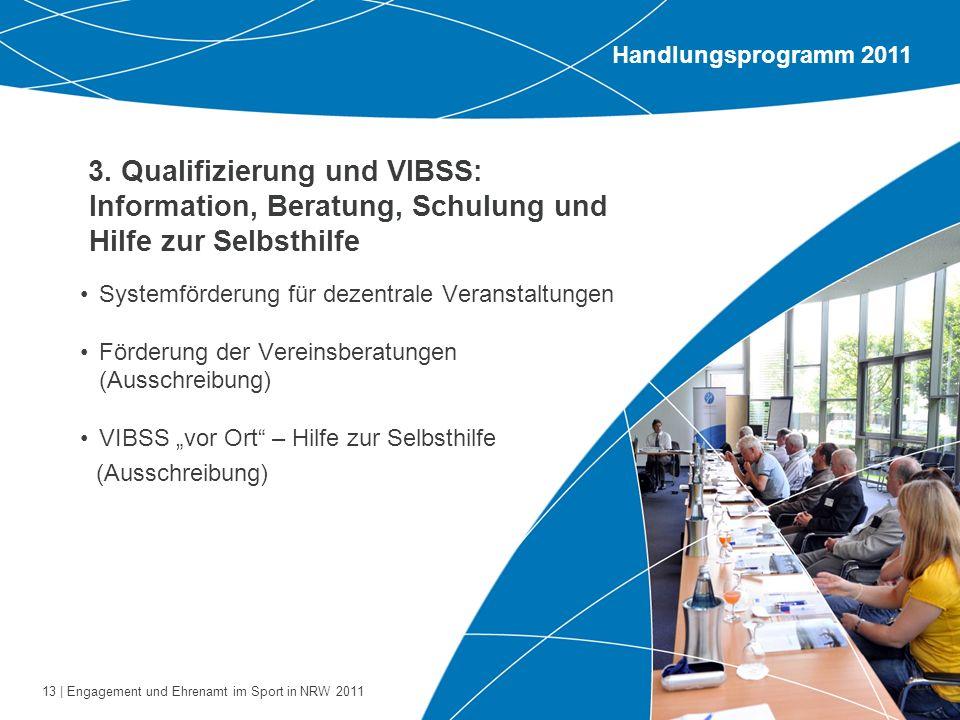 13 | Engagement und Ehrenamt im Sport in NRW 2011 3. Qualifizierung und VIBSS: Information, Beratung, Schulung und Hilfe zur Selbsthilfe Systemförderu