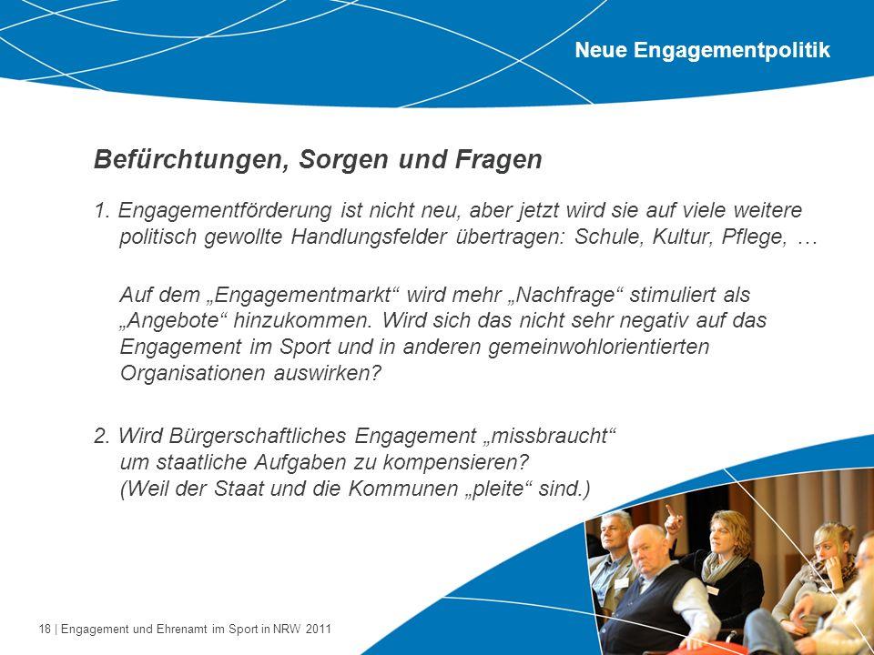 18 | Engagement und Ehrenamt im Sport in NRW 2011 Befürchtungen, Sorgen und Fragen 1. Engagementförderung ist nicht neu, aber jetzt wird sie auf viele