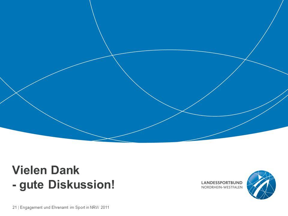 21 | Engagement und Ehrenamt im Sport in NRW 2011 Vielen Dank - gute Diskussion!