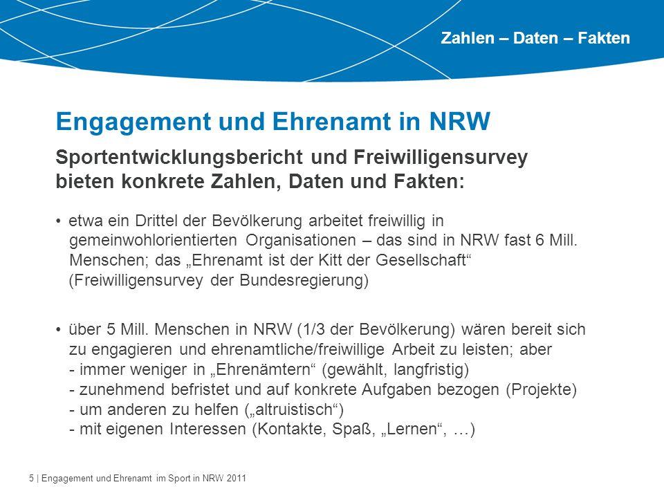 5 | Engagement und Ehrenamt im Sport in NRW 2011 Engagement und Ehrenamt in NRW Zahlen – Daten – Fakten Sportentwicklungsbericht und Freiwilligensurve