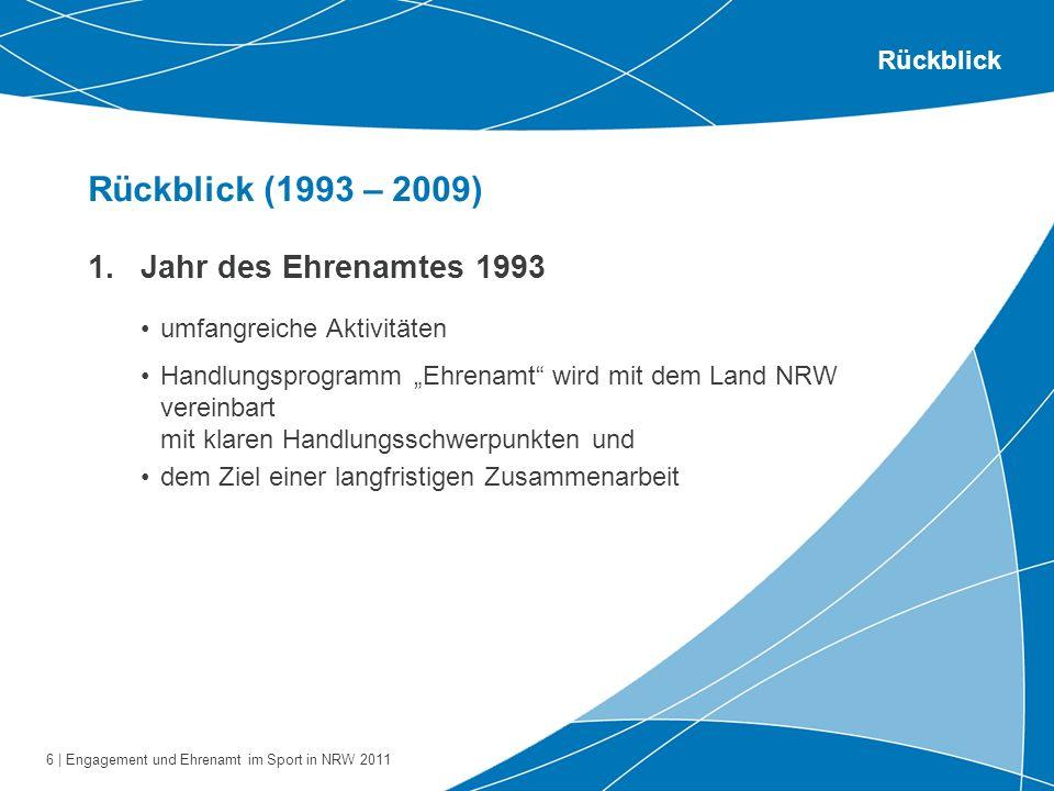 6 | Engagement und Ehrenamt im Sport in NRW 2011 Rückblick (1993 – 2009) Rückblick 1.Jahr des Ehrenamtes 1993 umfangreiche Aktivitäten Handlungsprogra