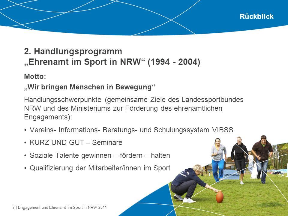 7 | Engagement und Ehrenamt im Sport in NRW 2011 2. Handlungsprogramm Ehrenamt im Sport in NRW (1994 - 2004) Motto: Wir bringen Menschen in Bewegung H