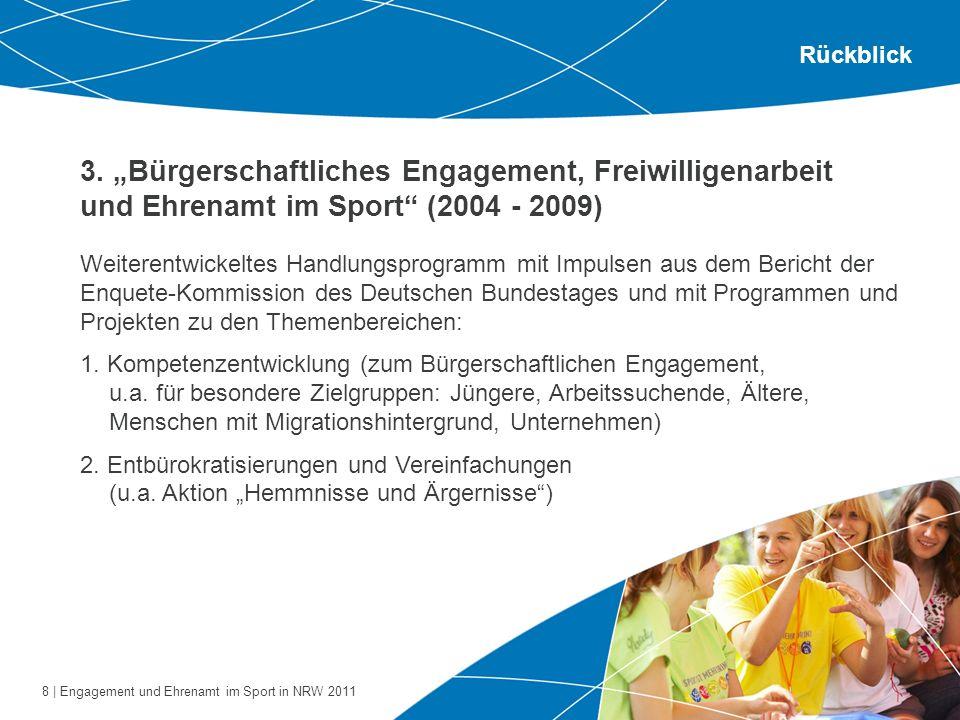 8 | Engagement und Ehrenamt im Sport in NRW 2011 3. Bürgerschaftliches Engagement, Freiwilligenarbeit und Ehrenamt im Sport (2004 - 2009) Rückblick We