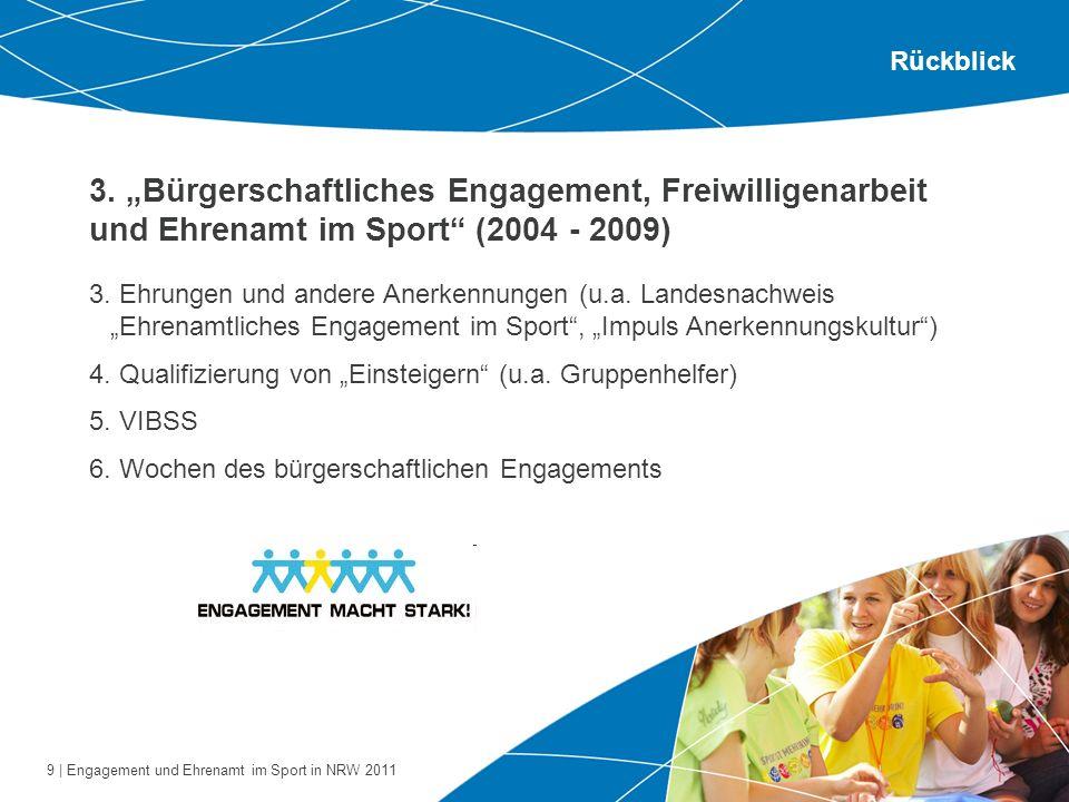 9 | Engagement und Ehrenamt im Sport in NRW 2011 3. Bürgerschaftliches Engagement, Freiwilligenarbeit und Ehrenamt im Sport (2004 - 2009) Rückblick 3.