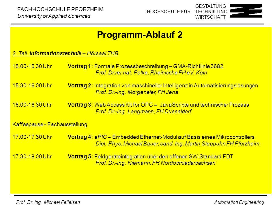 GESTALTUNG TECHNIK UND WIRTSCHAFT HOCHSCHULE FÜR FACHHOCHSCHULE PFORZHEIM University of Applied Sciences Prof.
