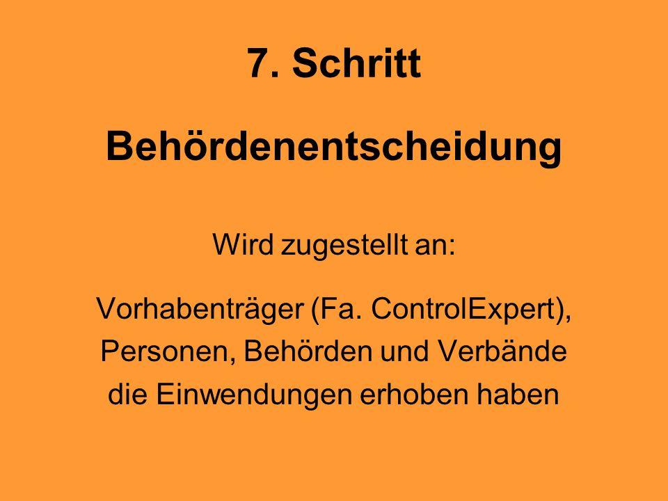 7. Schritt Behördenentscheidung Wird zugestellt an: Vorhabenträger (Fa. ControlExpert), Personen, Behörden und Verbände die Einwendungen erhoben haben