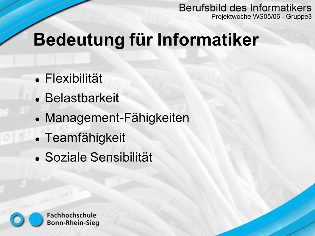 Flexibilität Belastbarkeit Management-Fähigkeiten Teamfähigkeit Soziale Sensibilität Bedeutung für Informatiker