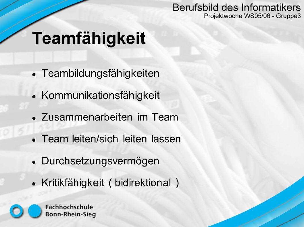 Teambildungsfähigkeiten Kommunikationsfähigkeit Zusammenarbeiten im Team Team leiten/sich leiten lassen Durchsetzungsvermögen Kritikfähigkeit ( bidire