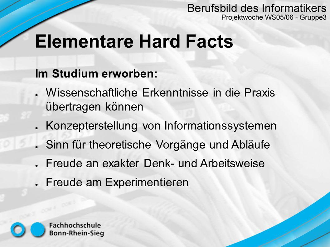 Heterogene Computernetze Systementwicklung / Anwendungsentwicklung Datenbanksysteme Client-/Serversysteme Testen neuer Hard- und Softwarekombinationen Marktkenntnisse (Hard- / Software) Vielfältigkeit der Hard Facts