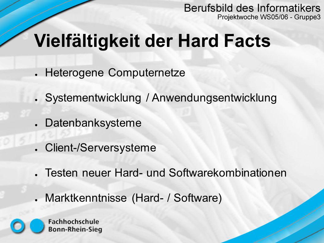 Heterogene Computernetze Systementwicklung / Anwendungsentwicklung Datenbanksysteme Client-/Serversysteme Testen neuer Hard- und Softwarekombinationen