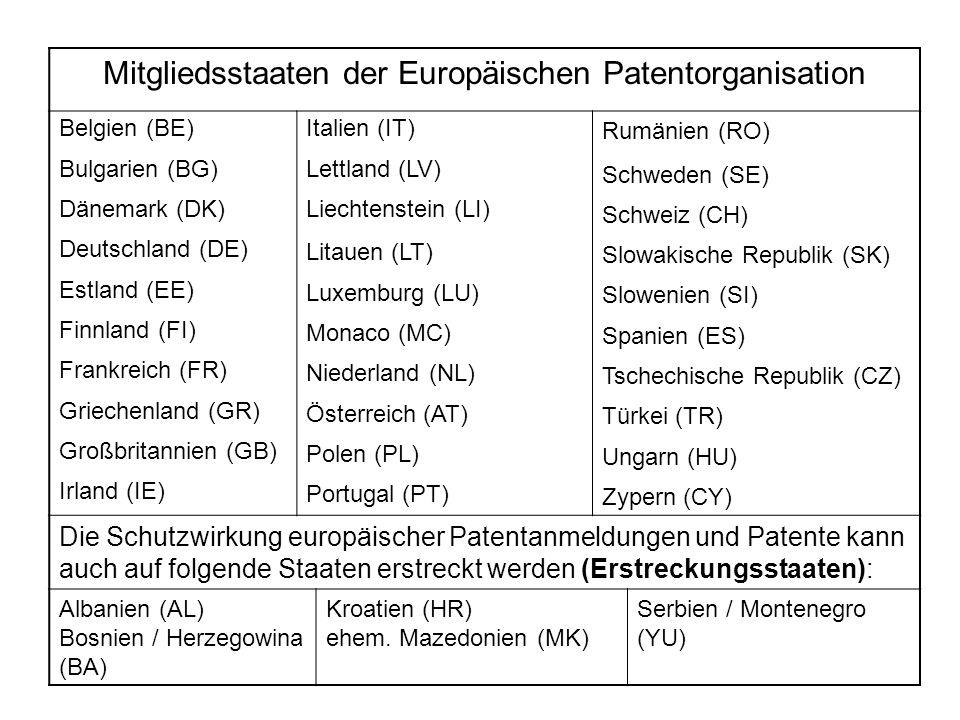 Mitgliedsstaaten der Europäischen Patentorganisation Belgien (BE) Bulgarien (BG) Dänemark (DK) Deutschland (DE) Estland (EE) Finnland (FI) Frankreich