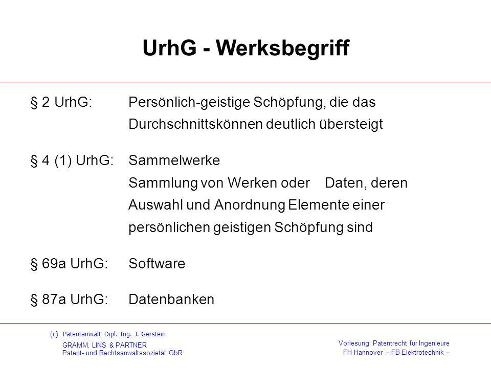 GRAMM, LINS & PARTNER Patent- und Rechtsanwaltssozietät GbR Vorlesung: Patentrecht für Ingenieure FH Hannover – FB Elektrotechnik – (c) Patentanwalt D