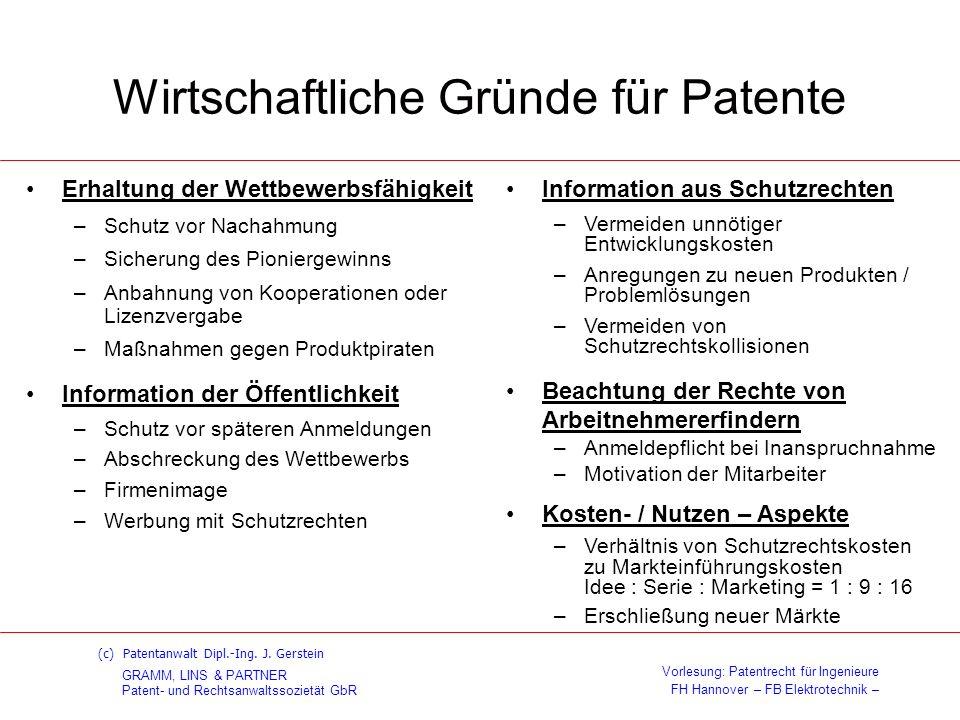 GRAMM, LINS & PARTNER Patent- und Rechtsanwaltssozietät GbR Vorlesung: Patentrecht für Ingenieure FH Hannover – FB Elektrotechnik – (c) Patentanwalt Dipl.-Ing.