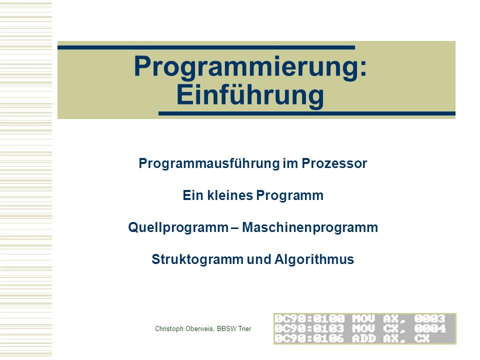 Programmierung: Einführung Programmausführung im Prozessor Ein kleines Programm Quellprogramm – Maschinenprogramm Struktogramm und Algorithmus Christo