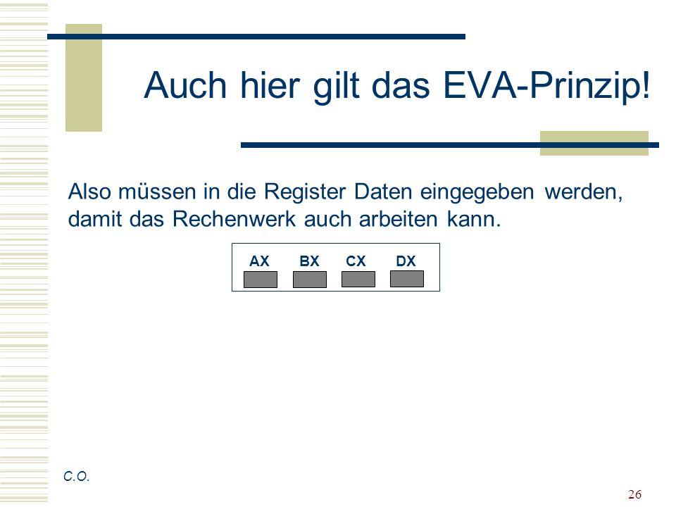 26 Auch hier gilt das EVA-Prinzip! C.O. Also müssen in die Register Daten eingegeben werden, damit das Rechenwerk auch arbeiten kann. AX BX CX DX