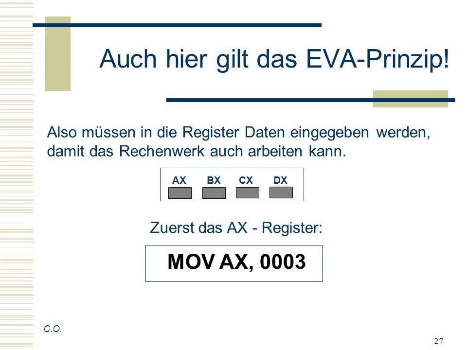 27 Auch hier gilt das EVA-Prinzip! C.O. Also müssen in die Register Daten eingegeben werden, damit das Rechenwerk auch arbeiten kann. AX BX CX DX Zuer