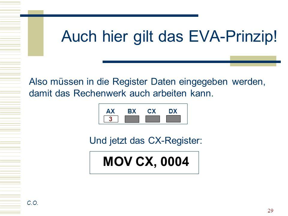 29 Auch hier gilt das EVA-Prinzip! C.O. Also müssen in die Register Daten eingegeben werden, damit das Rechenwerk auch arbeiten kann. AX BX CX DX Und