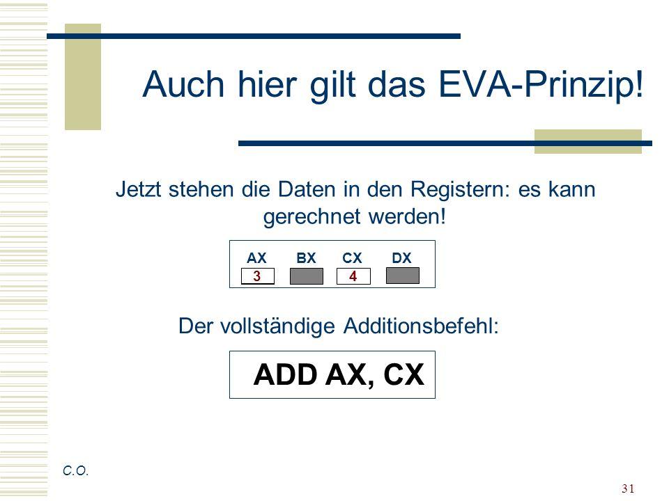 31 Auch hier gilt das EVA-Prinzip! C.O. Jetzt stehen die Daten in den Registern: es kann gerechnet werden! AX BX CX DX 4 3 Der vollständige Additionsb