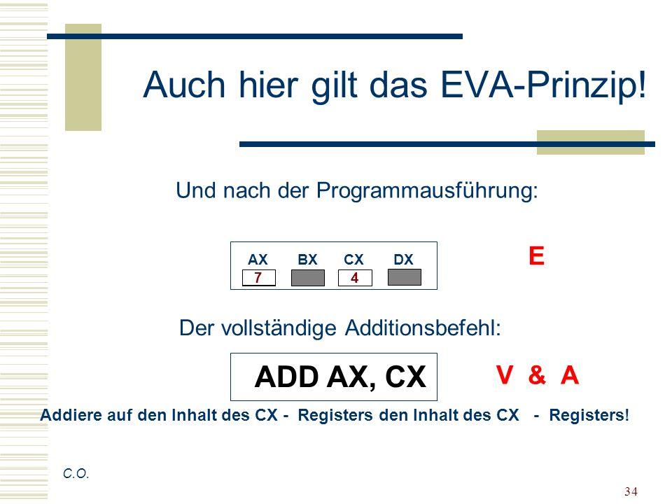 34 Auch hier gilt das EVA-Prinzip! C.O. AX BX CX DX 4 7 Der vollständige Additionsbefehl: ADD AX, CX Addiere auf den Inhalt des CX - Registers den Inh