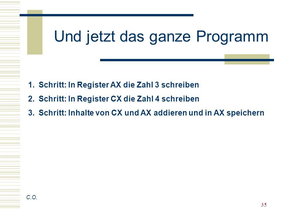 35 Und jetzt das ganze Programm C.O. 1.Schritt: In Register AX die Zahl 3 schreiben 2.Schritt: In Register CX die Zahl 4 schreiben 3.Schritt: Inhalte