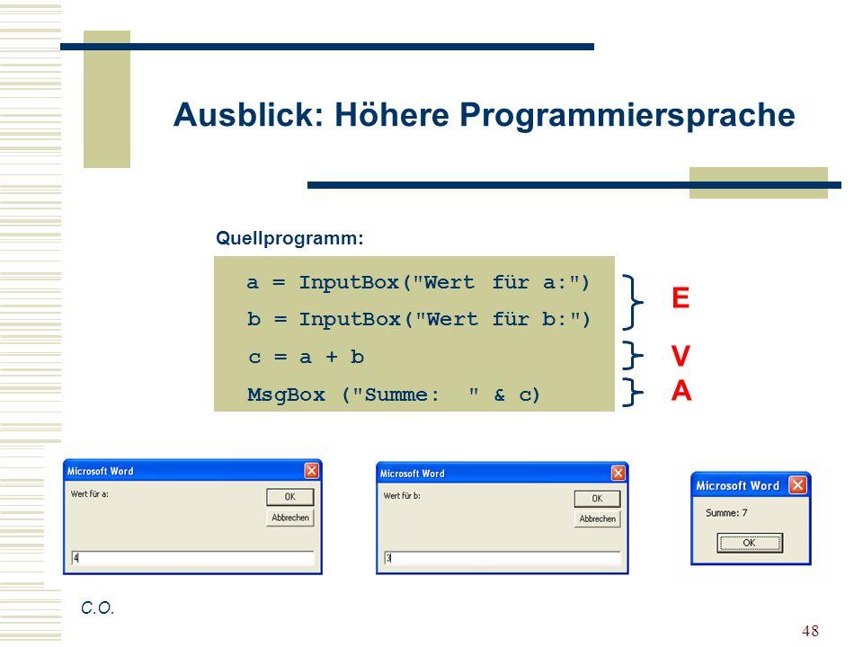 48 Ausblick: Höhere Programmiersprache C.O. a = InputBox(