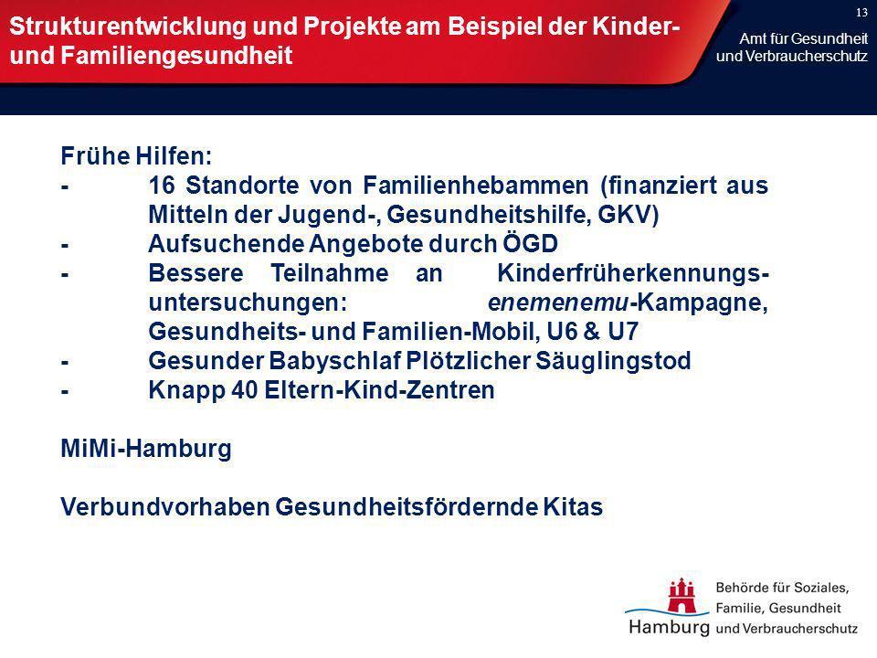 13 Strukturentwicklung und Projekte am Beispiel der Kinder- und Familiengesundheit Frühe Hilfen: -16 Standorte von Familienhebammen (finanziert aus Mi