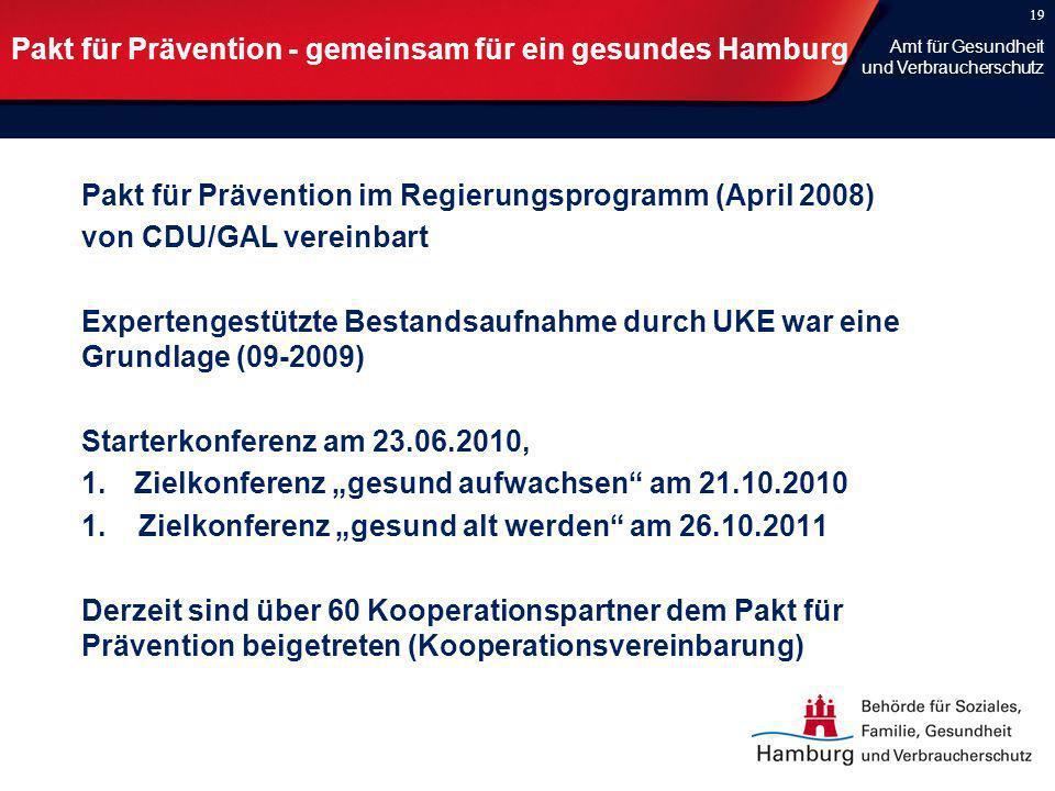 Pakt für Prävention - gemeinsam für ein gesundes Hamburg Pakt für Prävention im Regierungsprogramm (April 2008) von CDU/GAL vereinbart Expertengestütz