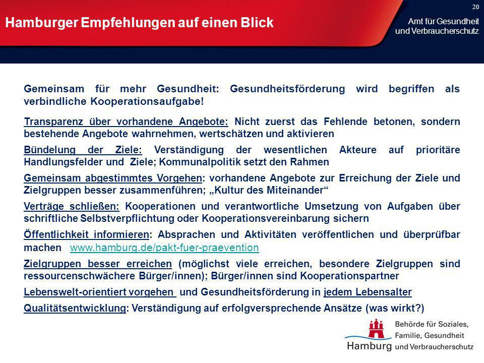 20 Hamburger Empfehlungen auf einen Blick Gemeinsam für mehr Gesundheit: Gesundheitsförderung wird begriffen als verbindliche Kooperationsaufgabe! Tra