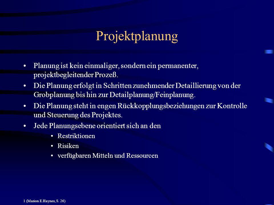 Projektplanung Planung ist kein einmaliger, sondern ein permanenter, projektbegleitender Prozeß. Die Planung erfolgt in Schritten zunehmender Detailli