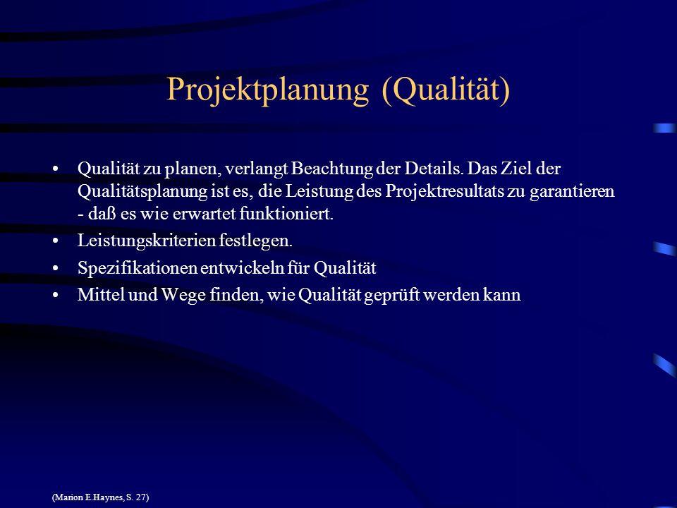 Projektplanung (Qualität) Qualität zu planen, verlangt Beachtung der Details. Das Ziel der Qualitätsplanung ist es, die Leistung des Projektresultats