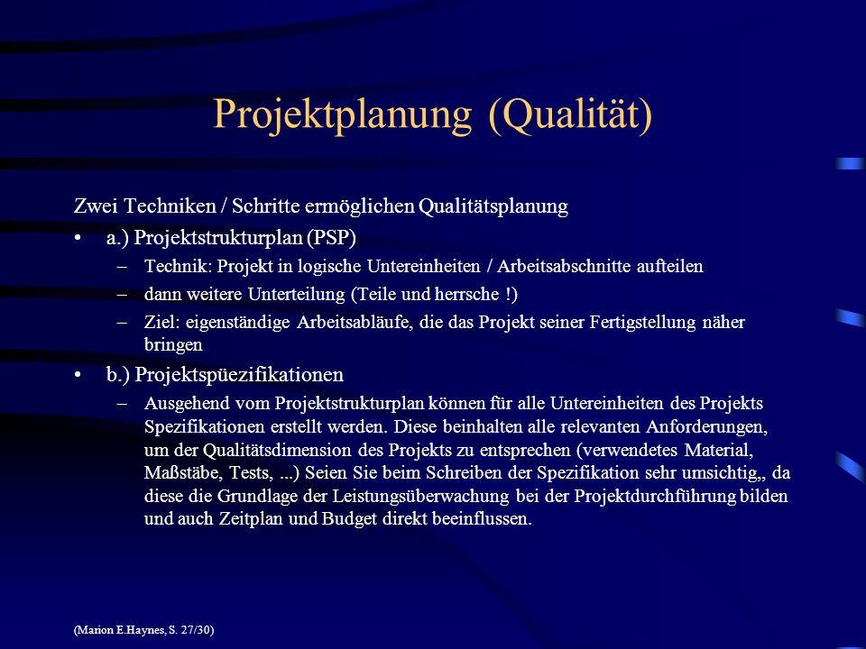 Projektplanung (Qualität) Zwei Techniken / Schritte ermöglichen Qualitätsplanung a.) Projektstrukturplan (PSP) –Technik: Projekt in logische Untereinh
