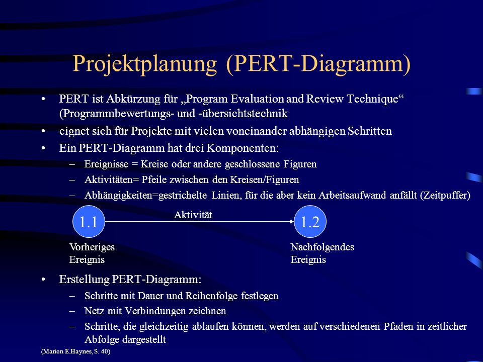 Projektplanung (PERT-Diagramm) PERT ist Abkürzung für Program Evaluation and Review Technique (Programmbewertungs- und -übersichtstechnik eignet sich