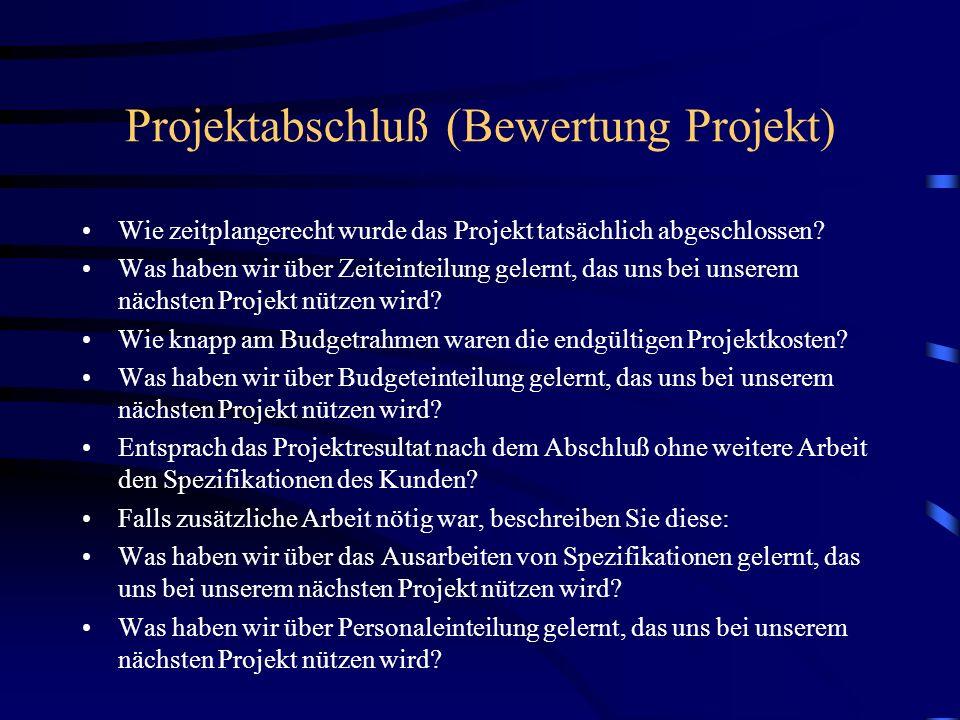 Projektabschluß (Bewertung Projekt) Wie zeitplangerecht wurde das Projekt tatsächlich abgeschlossen? Was haben wir über Zeiteinteilung gelernt, das un