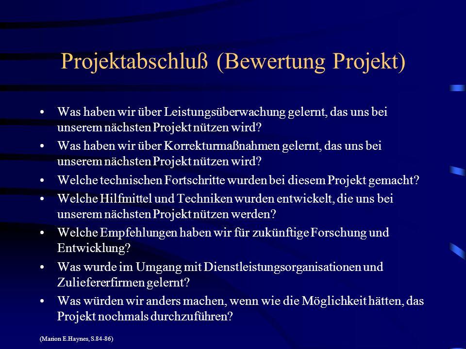 Projektabschluß (Bewertung Projekt) Was haben wir über Leistungsüberwachung gelernt, das uns bei unserem nächsten Projekt nützen wird? Was haben wir ü