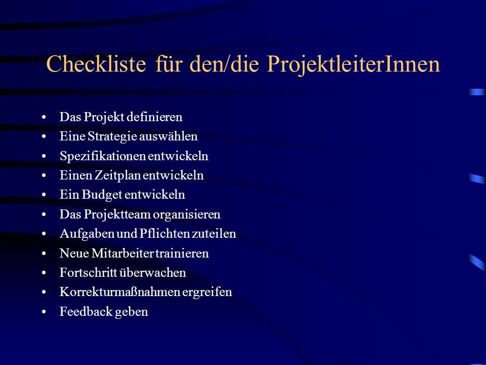 Checkliste für den/die ProjektleiterInnen Das Projekt definieren Eine Strategie auswählen Spezifikationen entwickeln Einen Zeitplan entwickeln Ein Bud