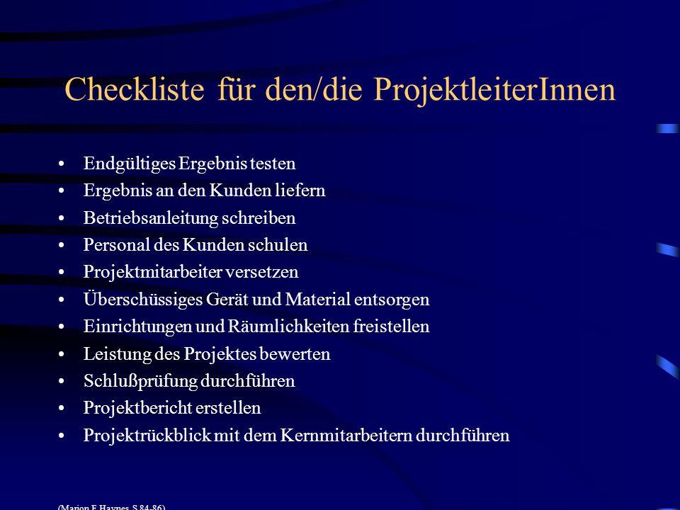 Checkliste für den/die ProjektleiterInnen Endgültiges Ergebnis testen Ergebnis an den Kunden liefern Betriebsanleitung schreiben Personal des Kunden s
