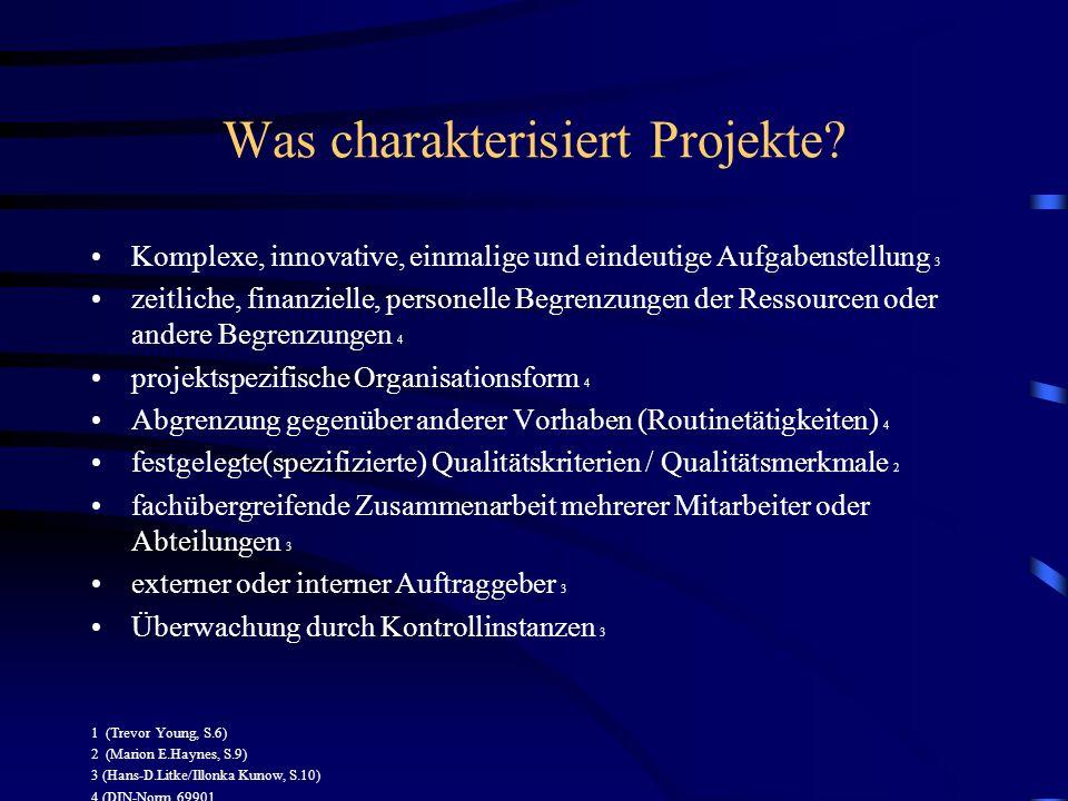 Was charakterisiert Projekte? Komplexe, innovative, einmalige und eindeutige Aufgabenstellung 3 zeitliche, finanzielle, personelle Begrenzungen der Re