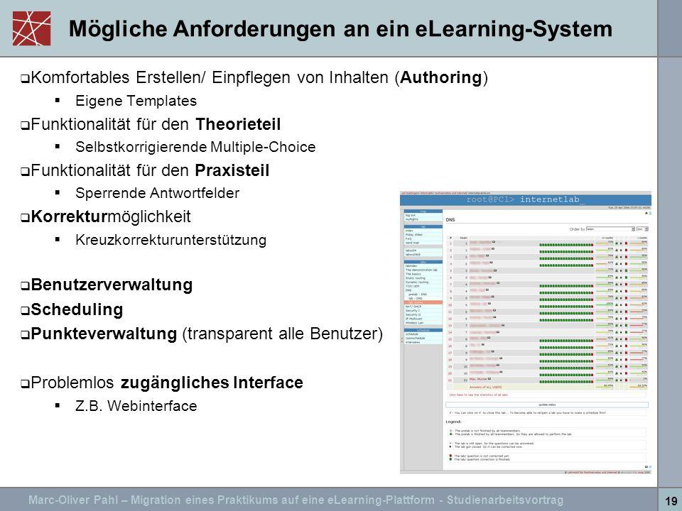 Marc-Oliver Pahl – Migration eines Praktikums auf eine eLearning-Plattform - Studienarbeitsvortrag 19 Mögliche Anforderungen an ein eLearning-System K