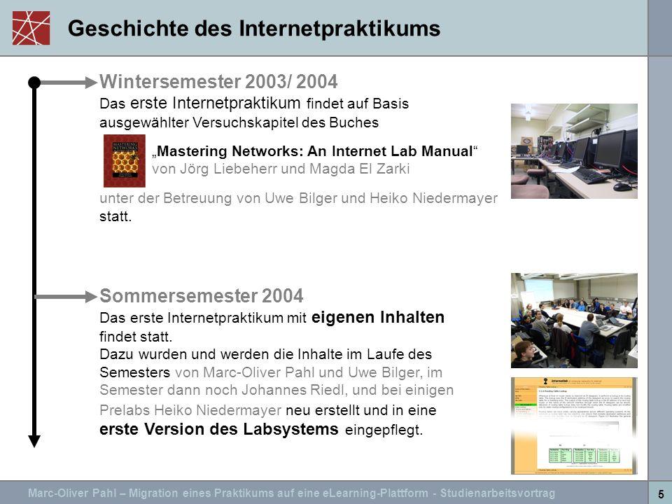 Marc-Oliver Pahl – Migration eines Praktikums auf eine eLearning-Plattform - Studienarbeitsvortrag 5 Geschichte des Internetpraktikums Wintersemester