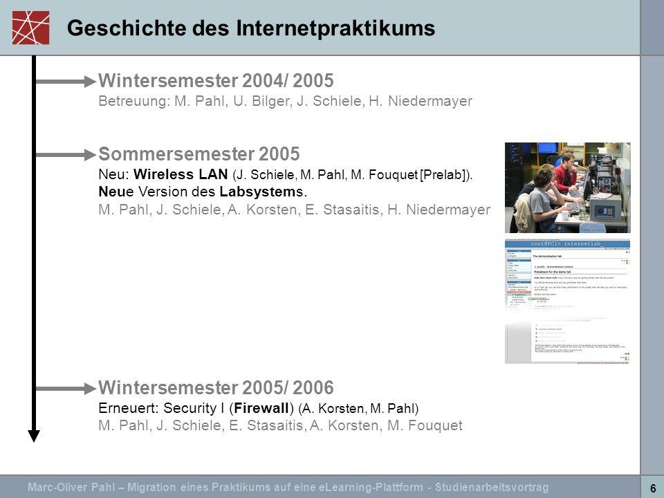 Marc-Oliver Pahl – Migration eines Praktikums auf eine eLearning-Plattform - Studienarbeitsvortrag 6 Geschichte des Internetpraktikums Wintersemester