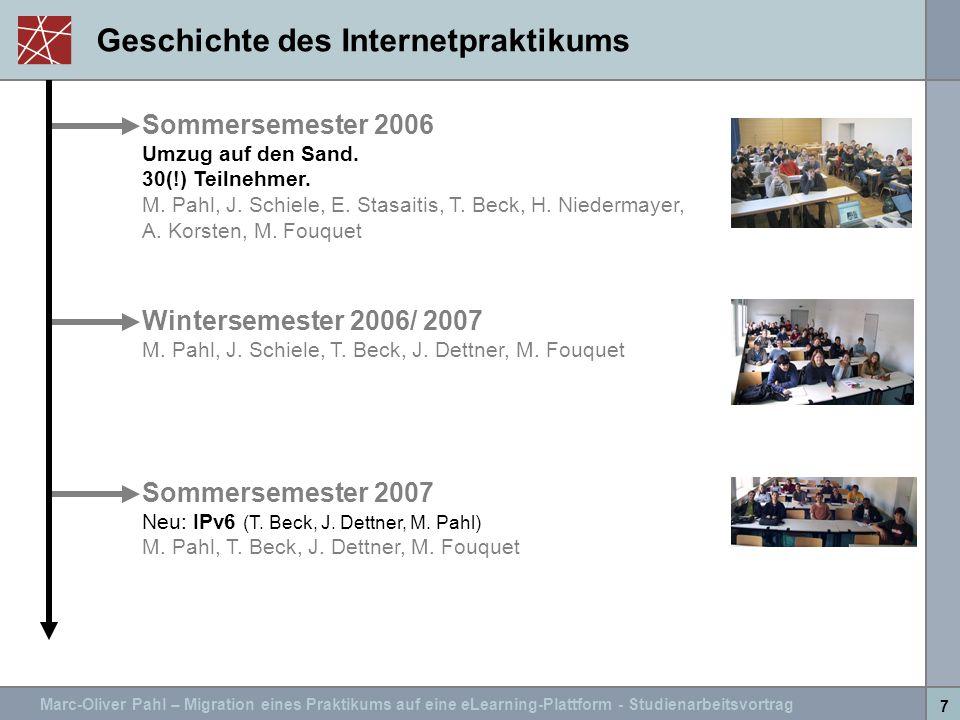 Marc-Oliver Pahl – Migration eines Praktikums auf eine eLearning-Plattform - Studienarbeitsvortrag 7 Geschichte des Internetpraktikums Sommersemester