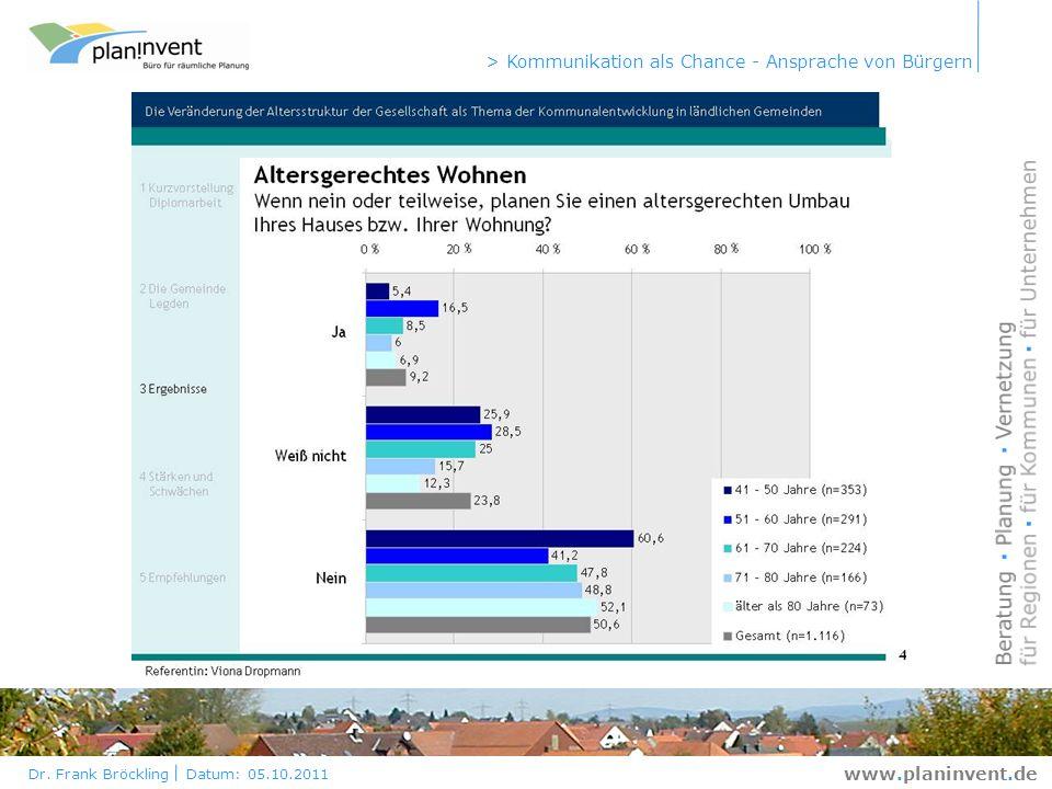 Dr. Frank Bröckling Datum: 05.10.2011 > Kommunikation als Chance - Ansprache von Bürgern www.planinvent.de