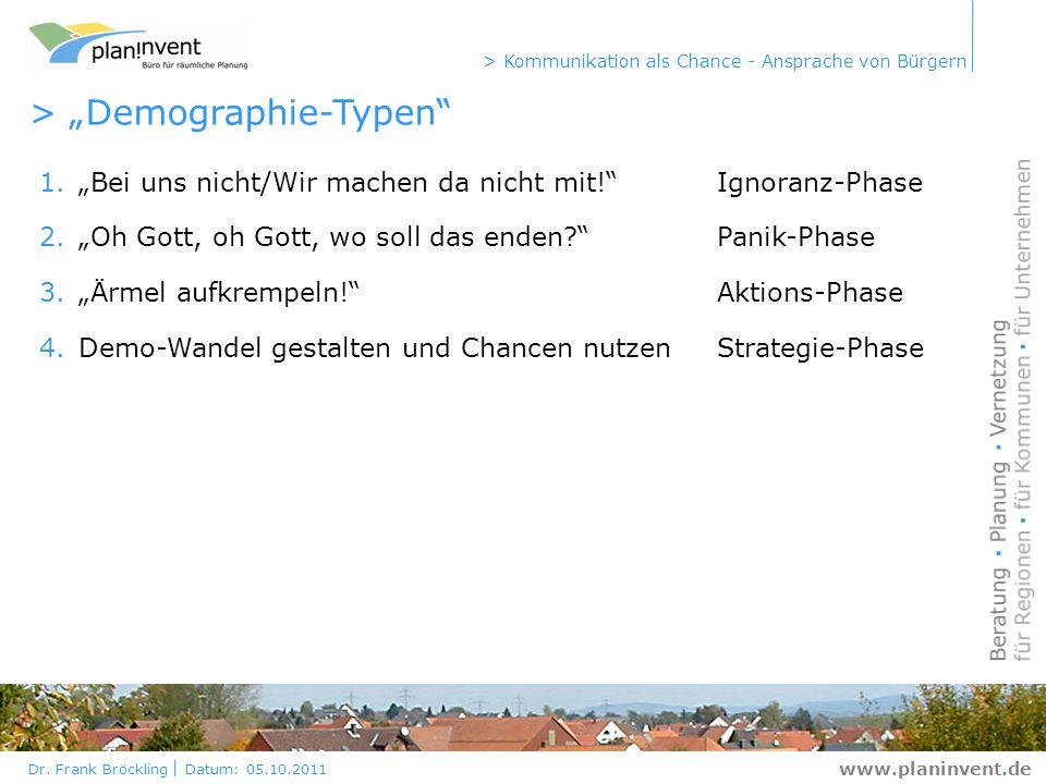 Dr. Frank Bröckling Datum: 05.10.2011 > Kommunikation als Chance - Ansprache von Bürgern www.planinvent.de > Demographie-Typen 1.Bei uns nicht/Wir mac