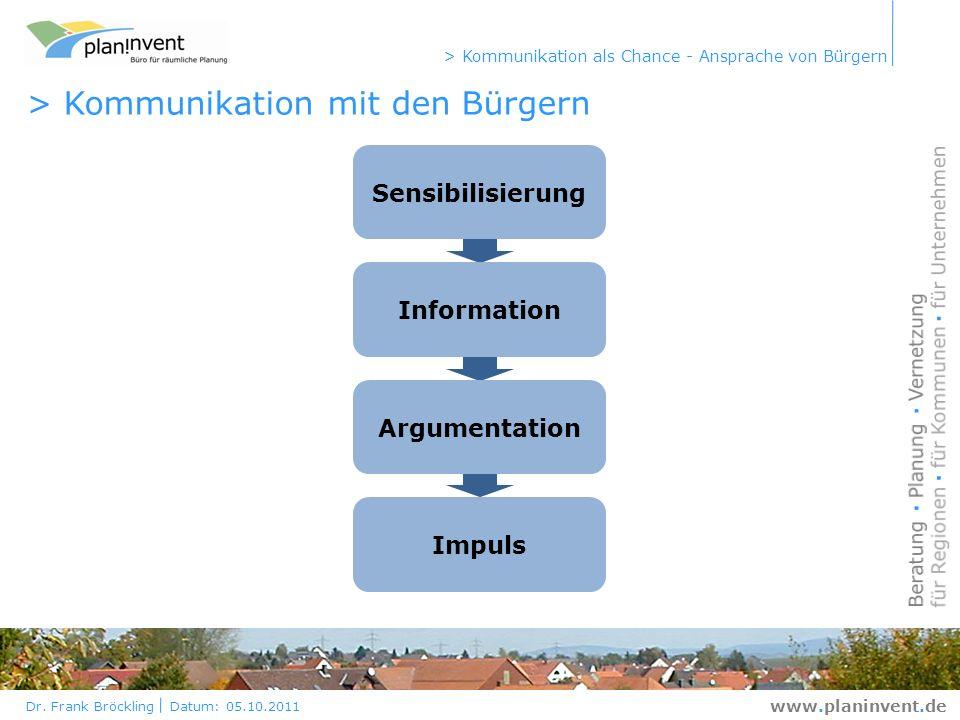Dr. Frank Bröckling Datum: 05.10.2011 > Kommunikation als Chance - Ansprache von Bürgern www.planinvent.de > Kommunikation mit den Bürgern Sensibilisi