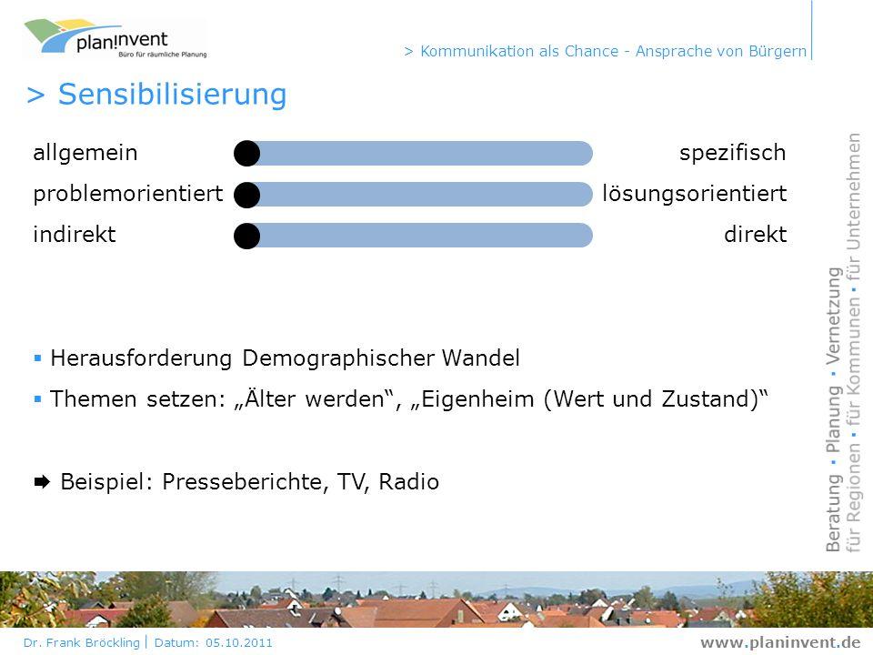 Dr. Frank Bröckling Datum: 05.10.2011 > Kommunikation als Chance - Ansprache von Bürgern www.planinvent.de > Sensibilisierung allgemeinspezifisch prob