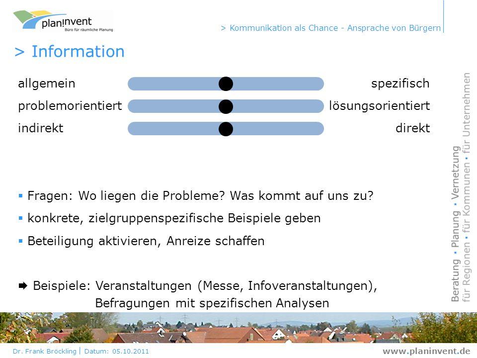 Dr. Frank Bröckling Datum: 05.10.2011 > Kommunikation als Chance - Ansprache von Bürgern www.planinvent.de > Information allgemeinspezifisch problemor