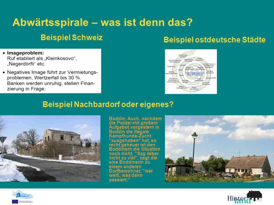 Abwärtsspirale – was ist denn das? Beispiel Schweiz Beispiel ostdeutsche Städte Beispiel Nachbardorf oder eigenes? Boddin: Auch, nachdem die Polizei m