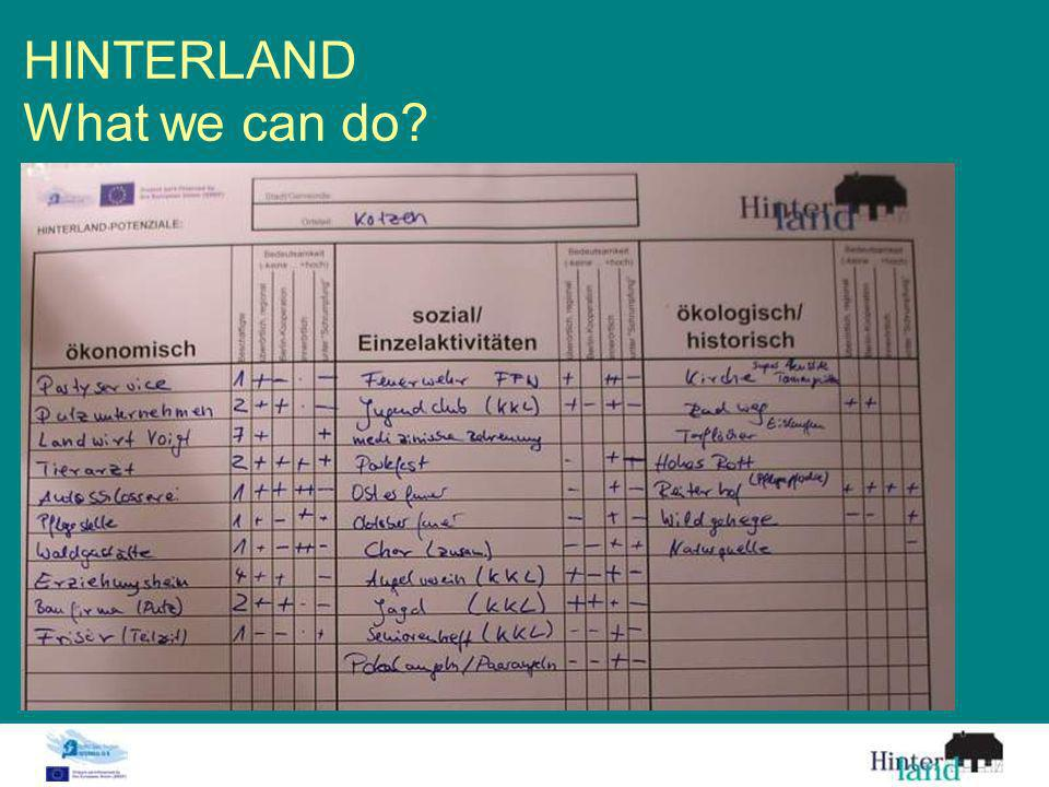 HINTERLAND What we can do?