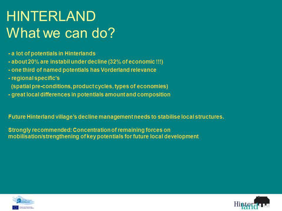 HINTERLAND What we can do? Future Hinterland villages decline management needs to stabilise local structures. Strongly recommended: Concentration of r