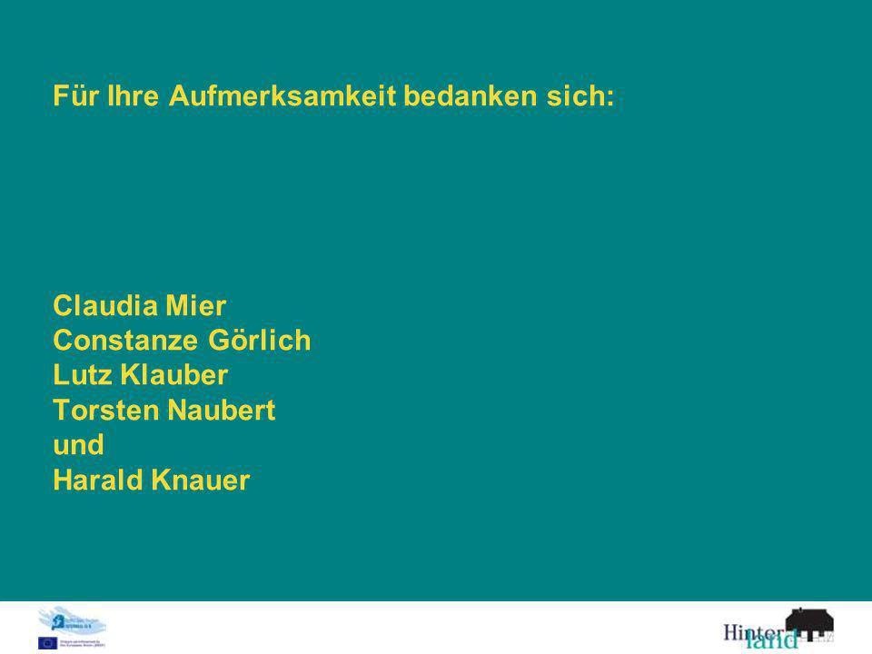 Für Ihre Aufmerksamkeit bedanken sich: Claudia Mier Constanze Görlich Lutz Klauber Torsten Naubert und Harald Knauer